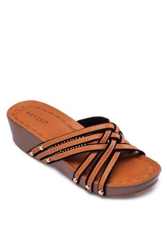 交叉esprit holdings limited編織帶厚底涼鞋, 女鞋, 楔形涼鞋
