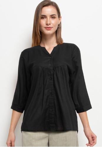 Solene black Lia Linen Shirt BC344AA5134C0EGS_1