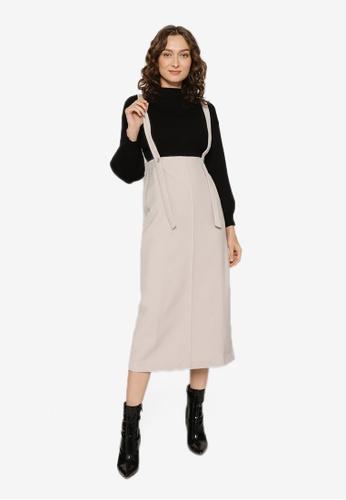 JEANASIS beige Suspender Skirt C2273AAF3F6569GS_1