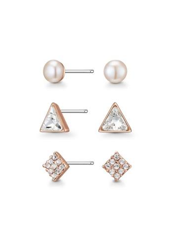 Mestige 金色 Gold Miya Earring Set with Swarovski® Crystals 038BDACC95EAE3GS_1