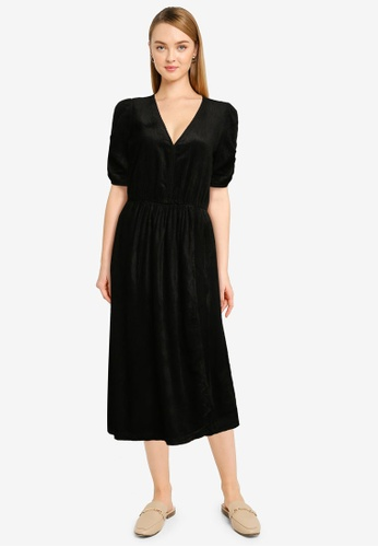 GAP black Drapey Cord Wrap Front Midi Dress 4FA00AAD481068GS_1