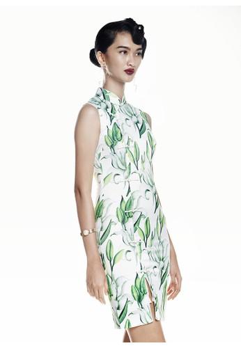 Mandarin Peony Cheongsam white and green Mandarin Peony LILIUM Cheongsam Dress MA048AA79OFCID_1