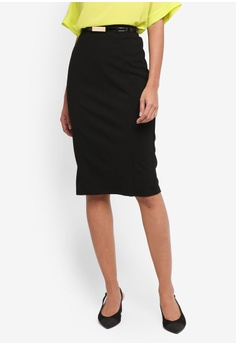 Dorothy Perkins black Black Belted Pencil Skirt 378E9AAB941015GS_1