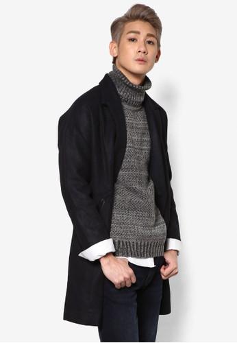 zalora 台灣雙鈕翻領長版外套, 服飾, 外套