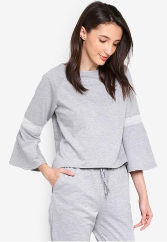 Zalia grey Flare Sleeves Top With Rib Details FD50EAAC43EB06GS_1