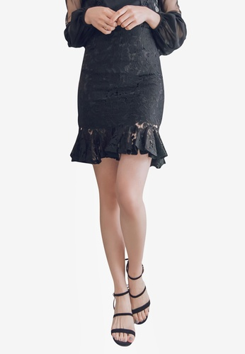 YOCO black Lace Skirt with Peplum Hem 7F652AAF7F8AE8GS_1