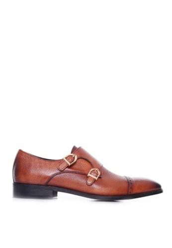 Zeve Shoes brown Zeve Shoes Double Monk Strap - Cognac Tan Pebble Grain Leather (Hand Painted Patina) 93F85SHC79BF3CGS_1