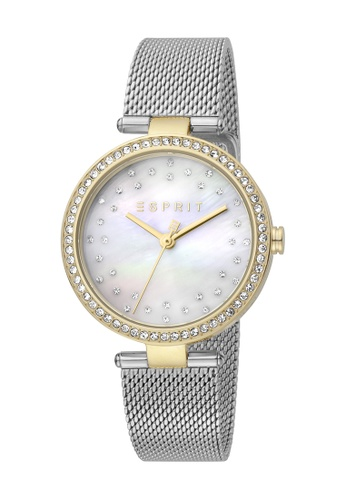 ESPRIT 金色 Esprit [Roselle] 34mm Two-Tone Stainless Steel and Gold Mesh Band Women Watch [ES1L199M1045] 916A0AC7A52CB2GS_1