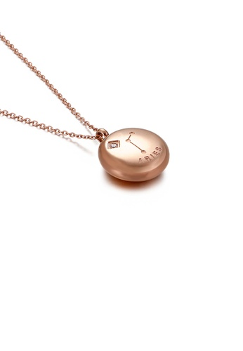 Glamorousky white Fashion and Simple Plated Rose Gold Twelve Constellations Aries Round 316L Stainless Steel Pendant with Cubic Zirconia and Necklace DDBF9AC1BA7D7BGS_1