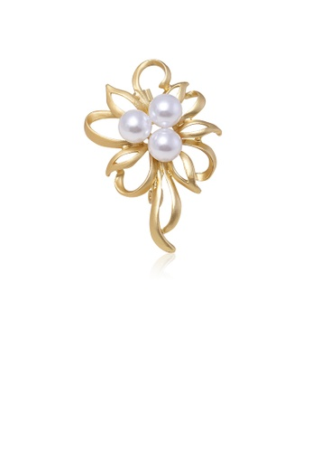 Glamorousky white Fashion and Elegant Plated Gold Flower Imitation Pearl Brooch 1A52DAC24A6BD9GS_1