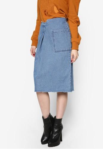 韓風口袋丹寧及esprit tote bag膝裙, 服飾, 裙子