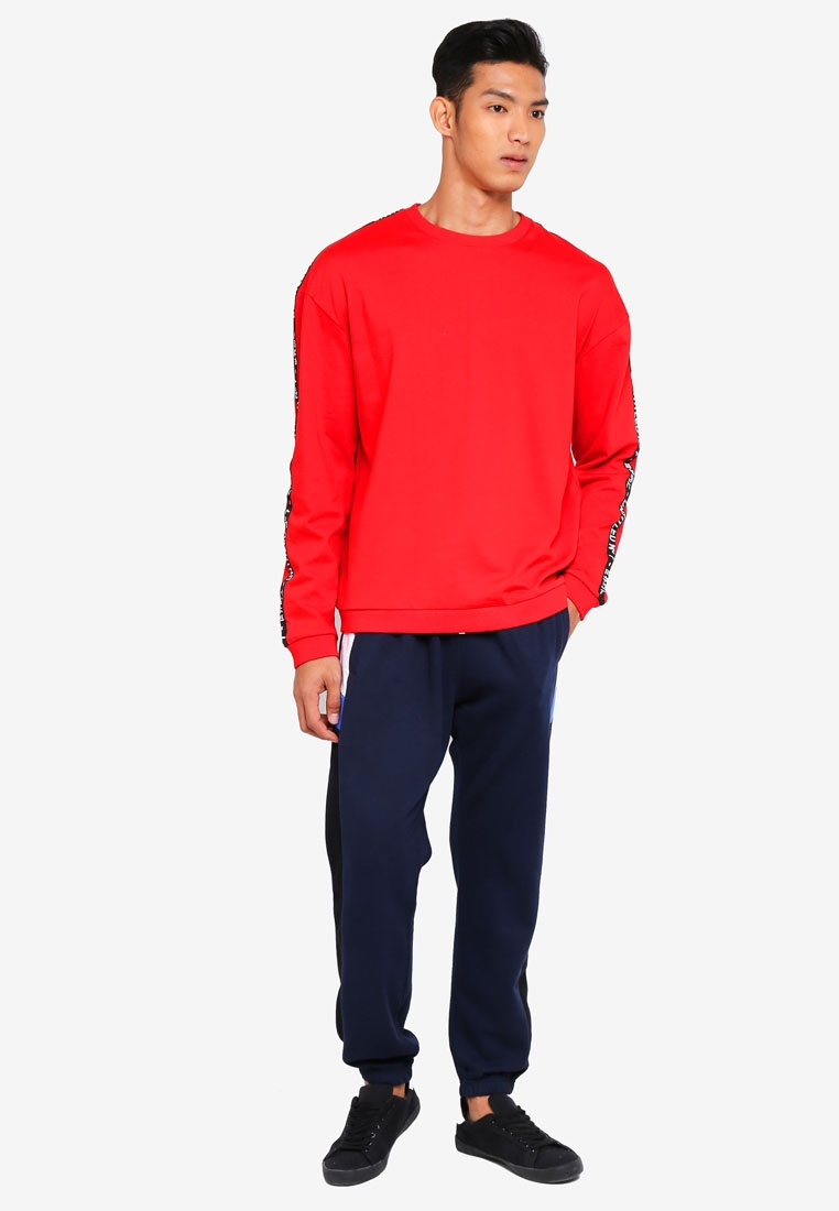 Sweatshirt Fleece Strong No Drop Cotton 7 Shoulder Crew On Red Untitled UtEqrYqw