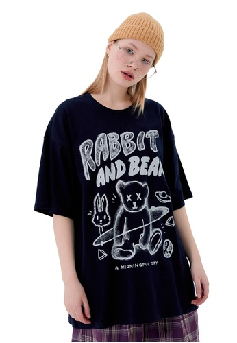 Twenty Eight Shoes Graffited Bear Printed Short T-shirt HH1031 66459AACD161B1GS_1
