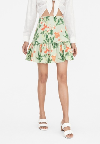 Pomelo green Orchid Print Ruffle Flare Skirt - Green E07B0AA5555B37GS_1
