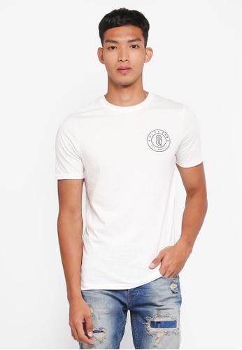 Only & Sons 白色 短袖胸前印花T恤 C7070AA56E6B4FGS_1