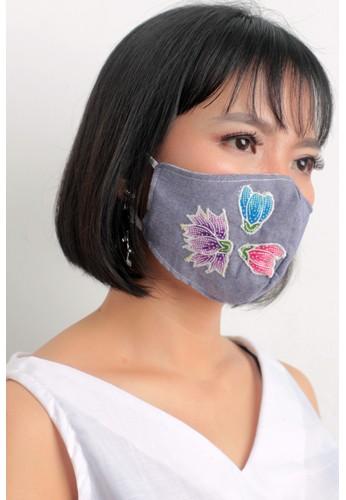 DhieVine Batik blue and multi Facemask Denim Bordir Tiga Bunga Earloop(2PCS) 35F12ES00B70A4GS_1