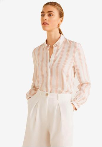 Mango pink Striped Flowy Shirt 713A5AA769C397GS_1