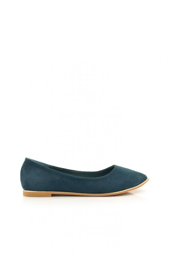 SHINE green Point Toe Suede Flats SH554SH0GQHBSG_1