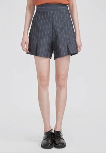 亞麻esprit台灣outlet條紋鬆緊腰短褲, 服飾, 短褲