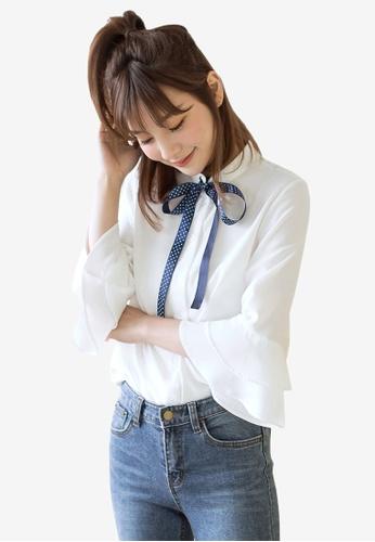 Tokichoi white Ribbon Detail Ruffled Shirt CD72DAA9E0D5EAGS_1