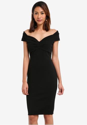 Goddiva black Fitted Off The Shoulder Midi Dress E07EDAA5A5105EGS_1