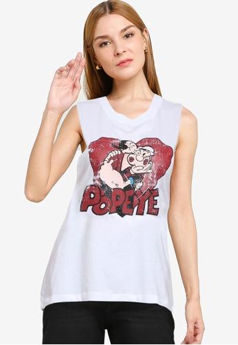JACQUELINE DE YONG white Donna  Sleeveless Popeye Tank Top DD431AA27DDB0AGS_1