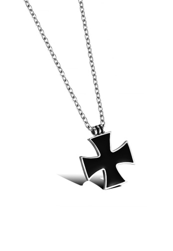 ADORA black Stainless Steel Cross Pendent Necklace A9963ACAC09BF8GS_1