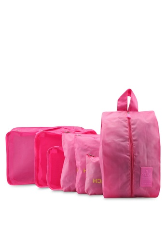 Bagstationz pink Travel Bag & Pouch Set 948CAAC81B049EGS_1