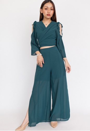 Hook Clothing green Wrap Top and Slit Pants Co-ord 6A3B8AAE019298GS_1
