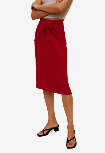 Mango red Knot Pencil Skirt 552F9AA82ECC3EGS_1