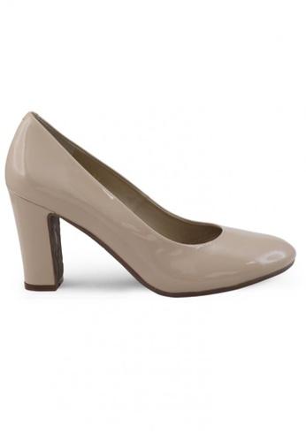 Shu Talk beige Round Toe Patent High Heels SH397SH0FQPLSG_1