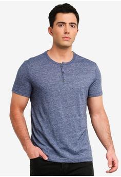 d723eedbac3 Banana Republic blue and navy Vintage Slub Short Sleeve Henley T-Shirt  98808AA97CD860GS 1