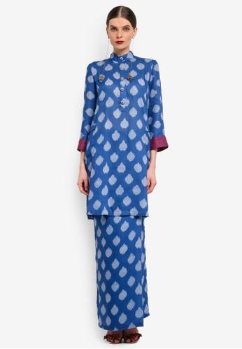 Rizalman for Zalora blue Mandarin Collar Kurung RI909AA0SF0PMY_1