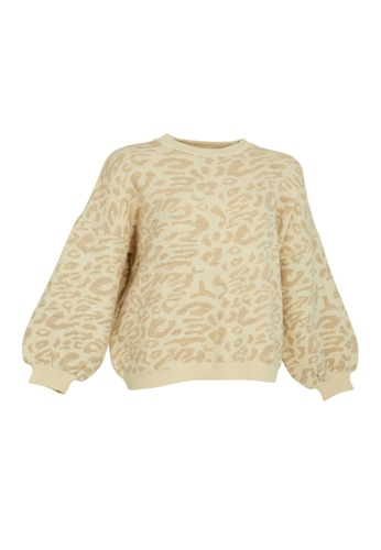Universal Traveller brown Universal Traveller Crew Neck Oversized Knitted Sweater With Leopard Print - KSW 9168 D7279AA55DADCEGS_1
