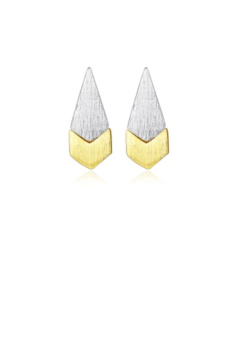 Glamorousky silver 925 Sterling Silver Simple and Fashion Two-color Water Drop Stud Earrings BFAD5ACB72FA7DGS_1