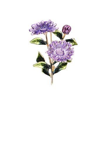 Glamorousky silver Fashion and Elegant Plated Gold Enamel Purple Flower Brooch 5E60AACB0D70B0GS_1