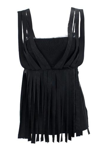 STELLA MCCARTNEY black Pre-Loved Black Silk Stella McCartney Sleeveless Top with Fabric Strip Appliqués and Lace 45922AA9F422ECGS_1