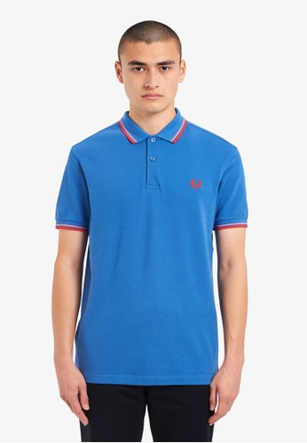 FRED PERRY blue M3600 - Twin Tipped Fred Perry Shirt - (Lupin) 11DE9AAA2A2E92GS_1