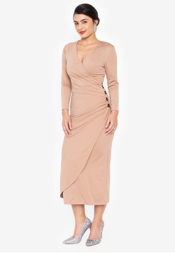 Wear Kris beige Kirsten Overlap Knit Dress with Button Detail EA4C5AA79A416CGS_1