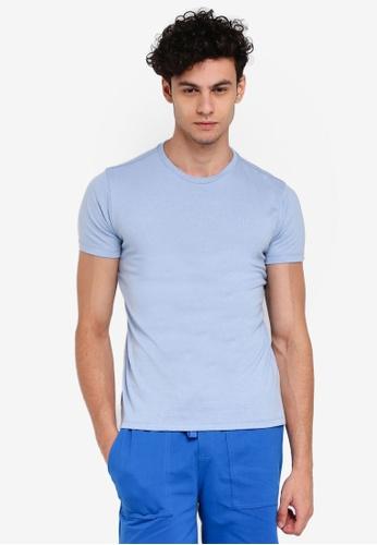 Penshoppe 藍色 短袖素色T恤 A11E3AA9573131GS_1