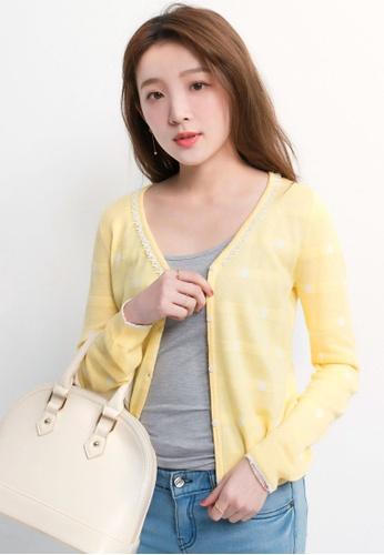 Yoco yellow Cardigan in Polka Dot Print BE3DDAA626C7C4GS_1