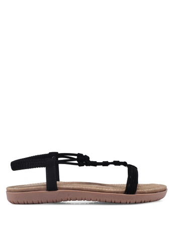 Mimosa black Strappy Flat Sandals E12E9SHEBE83B6GS_1