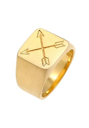 KUZZOI gold Perhiasan Pria Perak Asli - Silver Cincin Signet Matt Basic Arrow Gold Plated 1CAFDACFFA2B11GS_1
