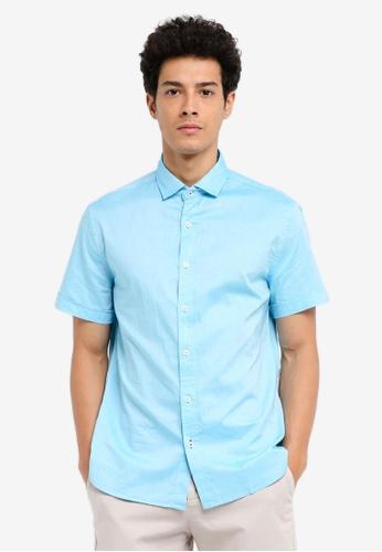 MANGO Man 藍色 修身短袖襯衫 E5FCFAA2FD80D1GS_1
