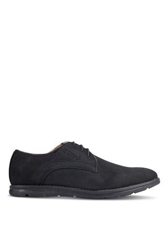 UniqTee black Grain Textured Derby Shoes UN097SH0RFVGMY_1