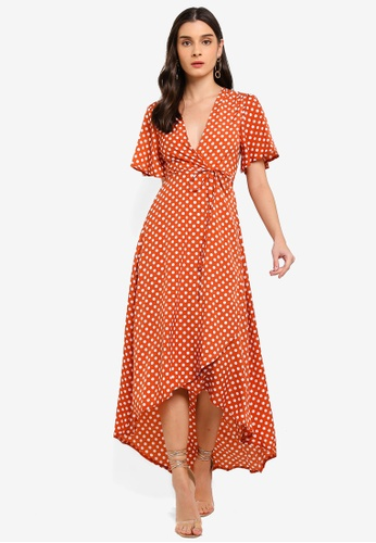 MISSGUIDED orange Polka Dot Wrap Front Low High Midi Dress A576FAA0264484GS_1