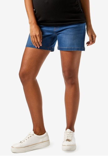 Dorothy Perkins blue Maternity Mid Denim Under The Bump Shorts E2B6CAAAB6A7DEGS_1