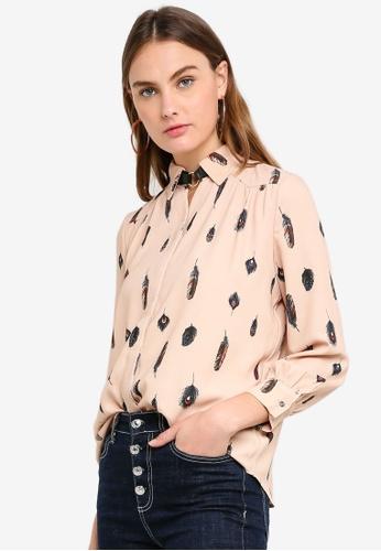 ESPRIT brown Woven Long Sleeve Shirt 43662AAD6FCD57GS_1