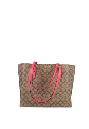 Coach brown Coach Signature Mollie 1665 Tote Bag In Khaki Eletric Pink FF252ACA26620FGS_1