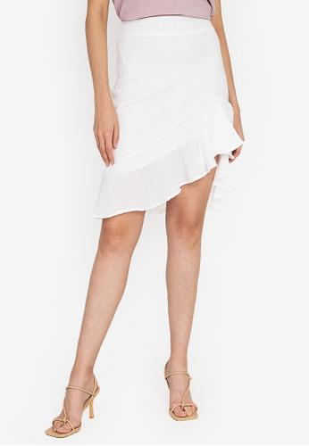ZALORA OCCASION white Textured Asymmetrical Hem Mermaid Skirt 053DFAA58DE3D2GS_1